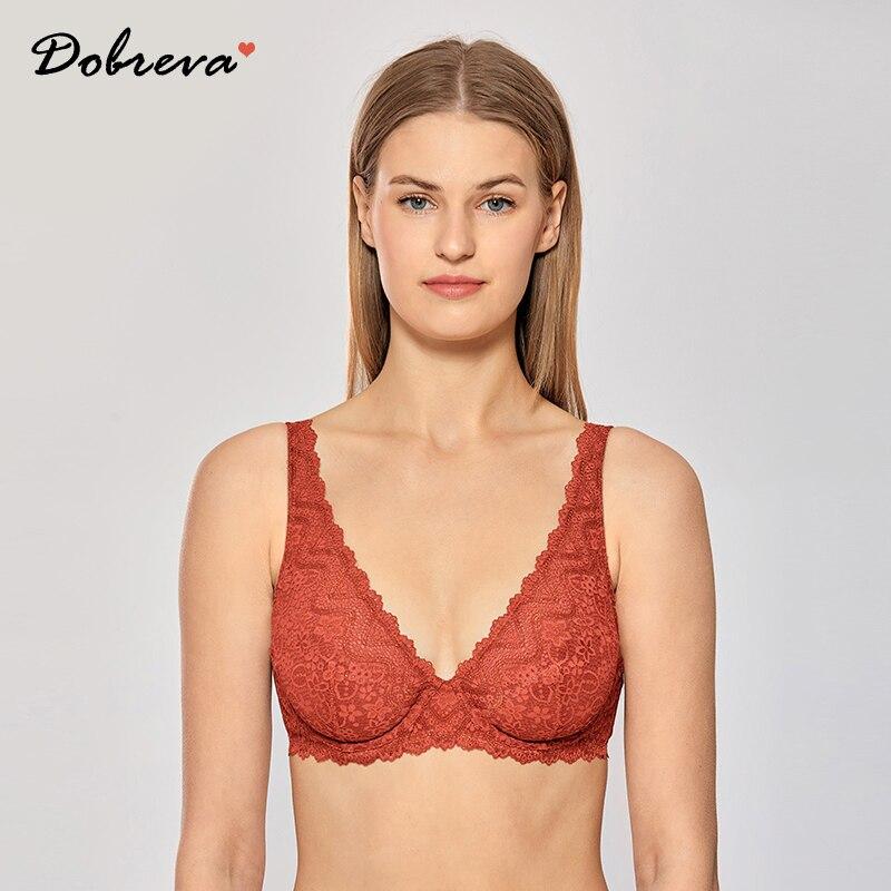 DOBREVA Women's Plus Size Lace Bralette Plunge Sexy Unlined Underwire Bra