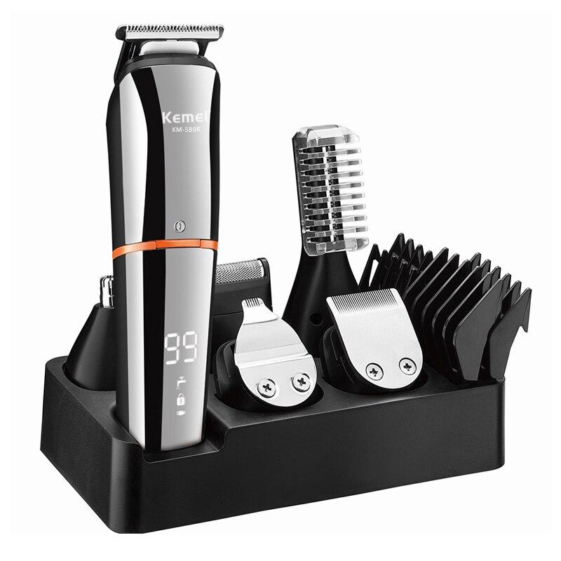 KEMEI الكهربائية مقص الشعر LED عرض للرجال المهنية الشعر المتقلب USB شحن قابلة للشحن قص الشعر اللحية آلة
