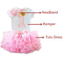 3pcs Letter Print Rompers+tutu Dress+Headband Birthday Outfits 1 2 Year Old Baby Girl Dress Newborn Girls Christening Clothing