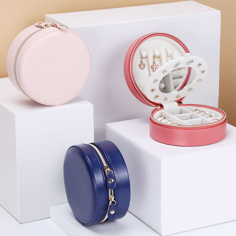 Estuche para joyería organizador mujer niñas viajes Almacenamiento de joyas cremalleras caja redonda sólido Reino Unido