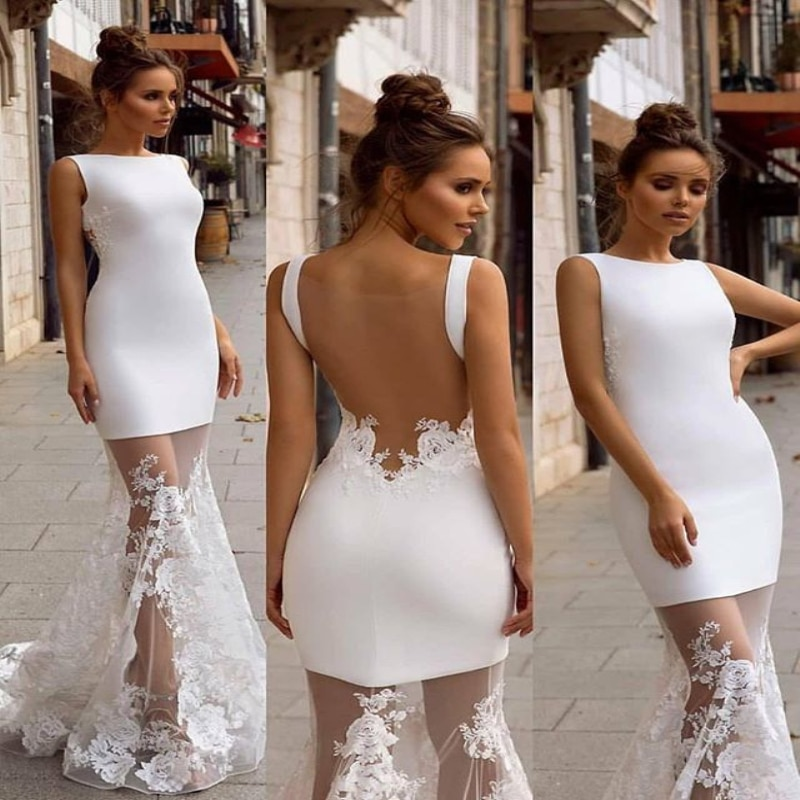 2021 New Sexy Round Neckline Slim-fitting Fishtail Dress Backless Party Evenging Dresses