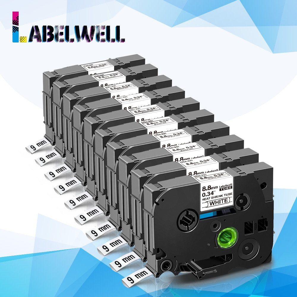 Labelwell 10 قطعة Hse-221 متوافق لأخيه الحرارة يتقلص أنبوب الشريط التسمية hse221 hse 221 9 مللي متر الأسود على الأبيض الشريط ف اتصال