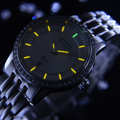 EPOCH Women Tritium Light T25 Watch  Quartz Luminous Waterproof 50m Girl Dress Rhinestone Watch