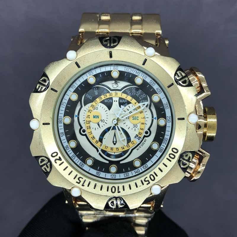 ساعة رجالي فاخرة كوارتز ، عادية موضة ساعات رجالية رياضية رجال الأعمال ساعة اليد 52 مللي متر الطلب الكبير relogio masculino