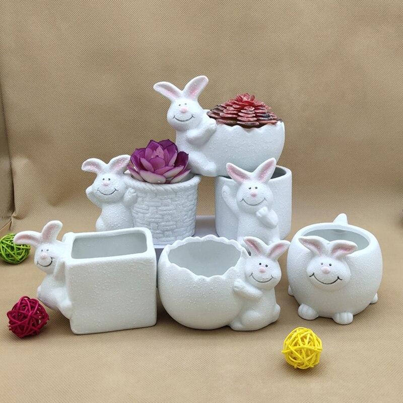 Ceramic Animal Flowerpot Cartoon Rabbit Look Succulent Plant Home Bonsai Decoration Crafts Potted Pottery Decorative