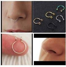 2 шт./лот, u-образные кольца для носа, кольца для перегородки, титановые серьги для пирсинга носа, ювелирные изделия для пирсинга