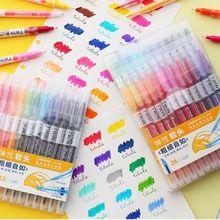 DIANSHI tweekoppige Kalligrafie Markeerstift Marker Pen Handgeschilderde Borstel 12/24PCS [Waarde Plan]