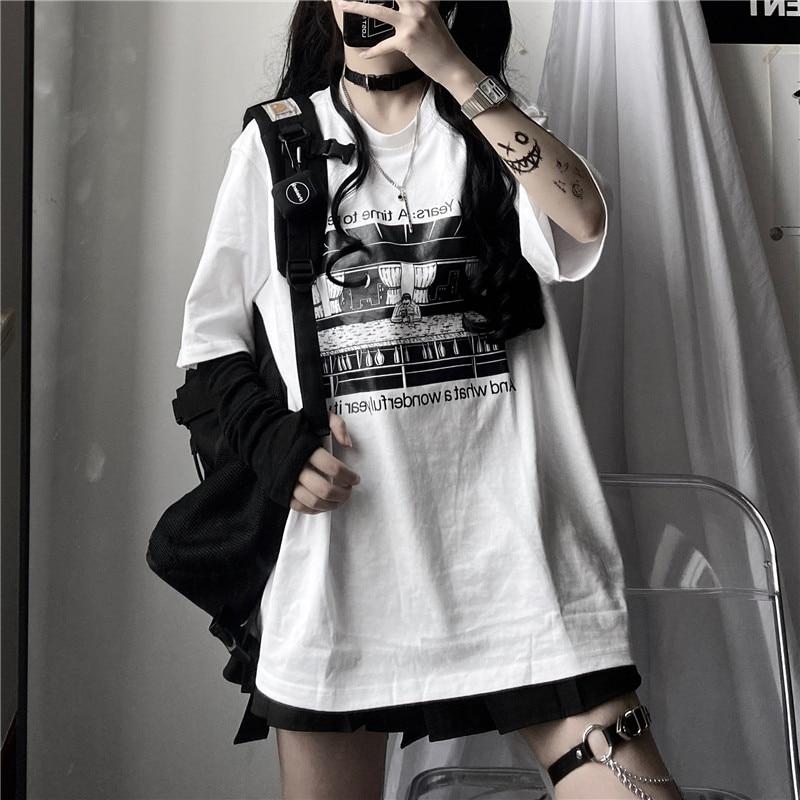 Women Man White Graphic T Shirt Streetwear Hip Hop T Shirt Harajuku Top Summer Short Sleeve Korean Clothes Punk Clothing Couple