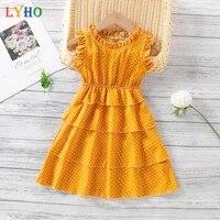 2021 new sleeveless polka dot pattern girl dress cute multi layer cake princess dress children clothes summer dress