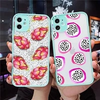 cartoon fruit cute dragon fruit kiwi phone case matte transparent for iphone 7 8 11 12 s mini pro x xs xr max plus cover funda