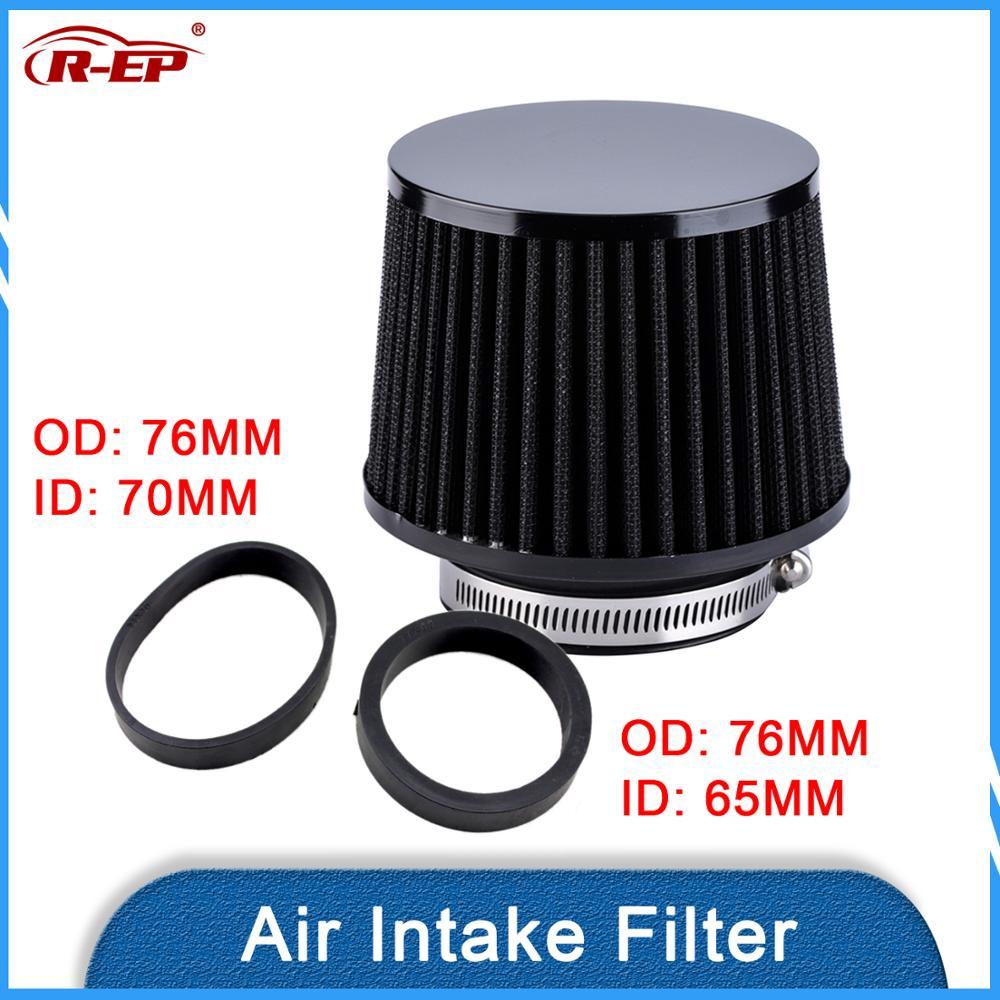 R-EP filtro de aire de alto flujo 76mm 70mm 65mm Universal para coche filtros de admisión de aire frío de 3 pulgadas 2,75 pulgadas 2,5 pulgadas filtro lavable reutilizable