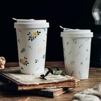 chinese style hand painted flowers pattern coffee mug pastoral coffe cup expresso cup elegant porcelain travel mug milk beer mug