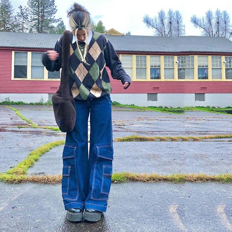 2021 винтажные джинсовые брюки с высокой талией, женские свободные повседневные Прямые джинсы с карманами, модные женские длинные брюки, улич...