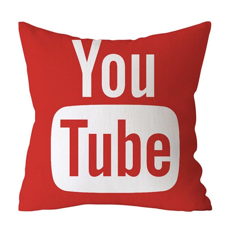 45x45CM APP Logo obicia na poduszki Facebook YouTube nowe Media poszewki na poduszki nowoczesny rzut poliestrowy poszewka na poduszkę Sofa dekoracja do samochodu/domu