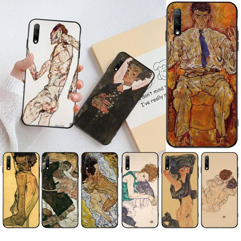 Egon Schiele DIY pintado Bling caja del teléfono para Huawei Honor 30 20 10 9 8 8x 8c v30 Lite ver pro
