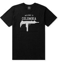 Willkommen Zu Kolumbien Uzi Maschine Pistolen Land Männer Neueste 2020 Neue Mode Fremden Dinge Männer Kurzarm Günstige T Shirts