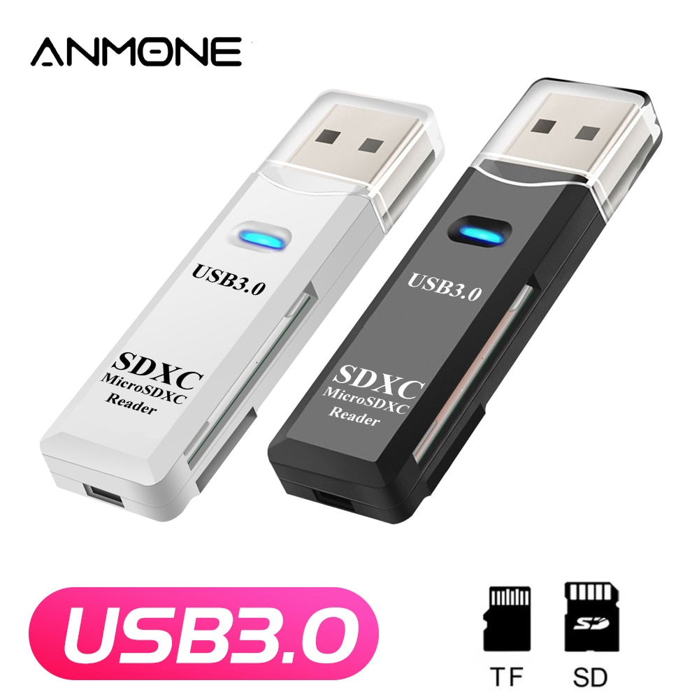 ANMONE USB 3.0 Card Reader 2 In 1 Micro SD TF Card Memory Flash Drive Adapter High Speed Multi-card