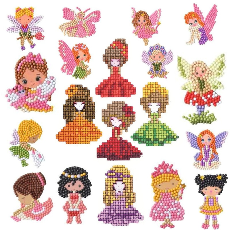 Pintura de diamantes DIY para niños, lindos elfos, pasta de diamantes 5D, juguetes de aprendizaje fáciles de pegar para niños, se pega según el número