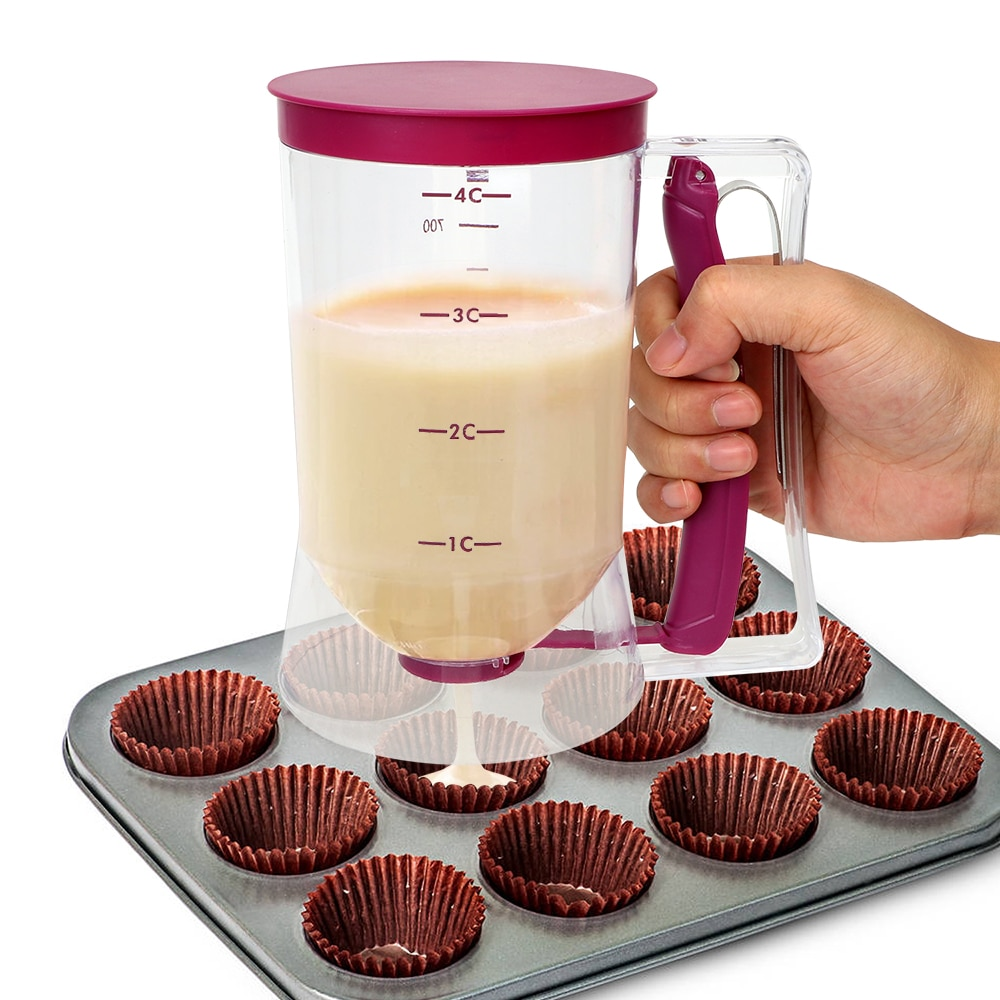 Delidge Cream Speratator Batter Flour Paste Dispenser Baking Tools For Cupcakes Pancakes Cookie Cake Muffins 900ml Measuring Cup