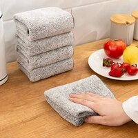 bamboo charcoal dishcloth household absorbent cleaning cloth microfiber kitchen non stick oil towel rag kitchen tools