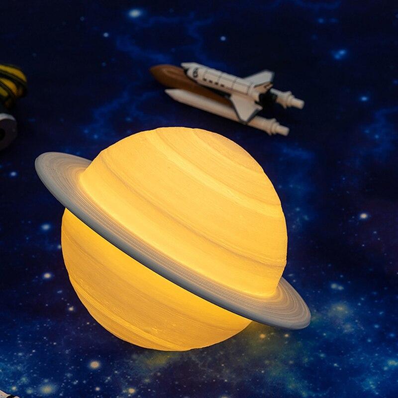 Promotion! Lampe Rechargeable de saturne dimpression dusb 3D de Conservation dénergie comme la veilleuse de lampe de lune pour des cadeaux à distance de lumière de lune