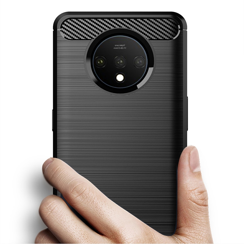 Luxury Carbon Fiber Soft silicone TPU Anti Scratch Shockproof Back Original Case for OnePlus 7T 1+7t