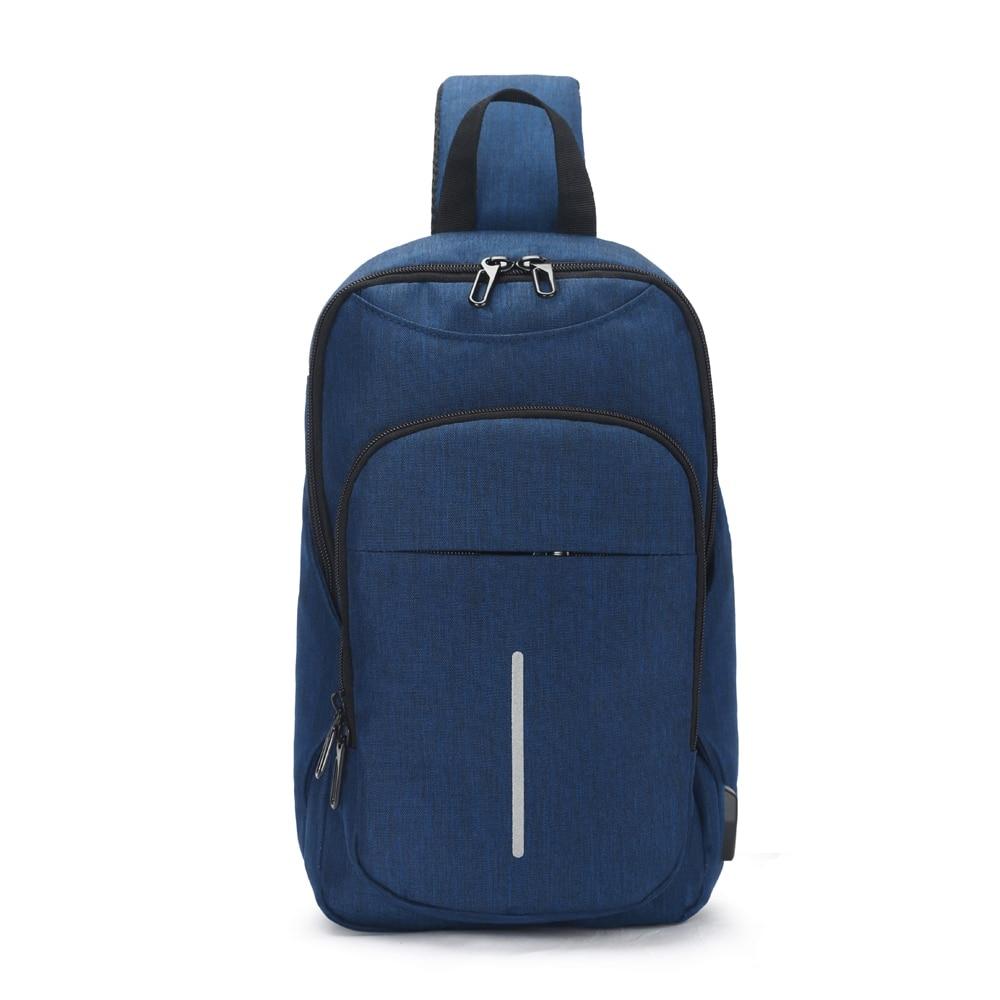 OZUKO de moda portátil impermeable de gran capacidad Oxford tela USB de negocios pecho mensajero bolsa cruzada para hombre