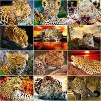 Peinture de diamant 5D a mosaique de leopard  kit de broderie complete en point de croix  a bricolage soi-meme  strass  animaux  decoration de maison