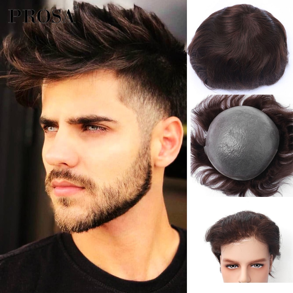 Slight Wave Thin Skin V-looped Men's Wig Man Hair for Men System Fashion Natural Male Wig Man Hairpiece Natural Human