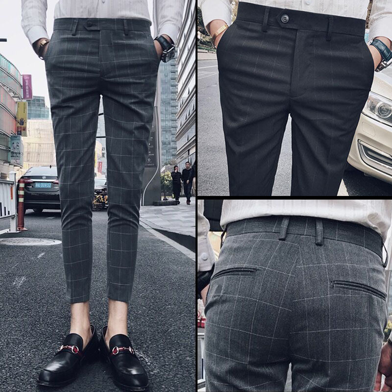 Мужские модельные брюки, клетчатые брюки для мужчин 2020, весенне-летний мужской костюм, брюки, облегающие повседневные брюки, мужские деловы...