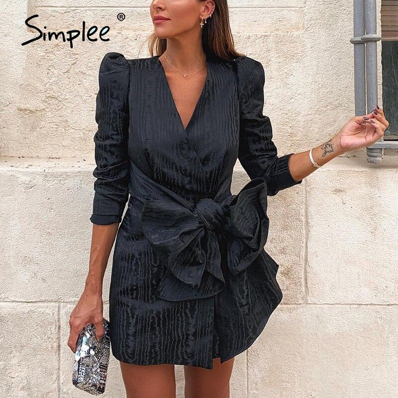 Simplee Sreetwear blazer con cuello en V vestido abullonada elegante manga arco corto vestido de fiesta de oficina señoras chic negro sólido otoño vestido de trabajo