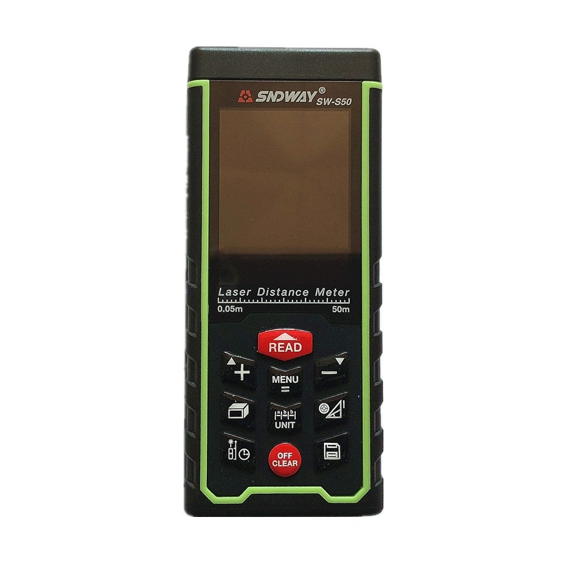 Telémetro Digital con pantalla a Color recargable 50M con cargador USB SW-S50 164ft medidor de distancia láser Herramientas de medición