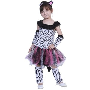 Girls Animals Zebra Wavy Stripes Mesh Dresses Halloween Cosplay Costumes Kids Party Role Play Dress Up Outfit Birthday Gift Suit