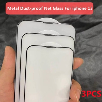 3Pcs Dust Net Protective Glass For iPhone 13 12 11 Pro XS Max XR 12 Mini Full Cover Protector Tempered Glass on iphone 13 Mini