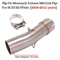 slip on motorcycle exhaust modified mid middle link pipe for suzuki sv650 sv 650 sv650x 2003 2015 years muffler escape bike tube