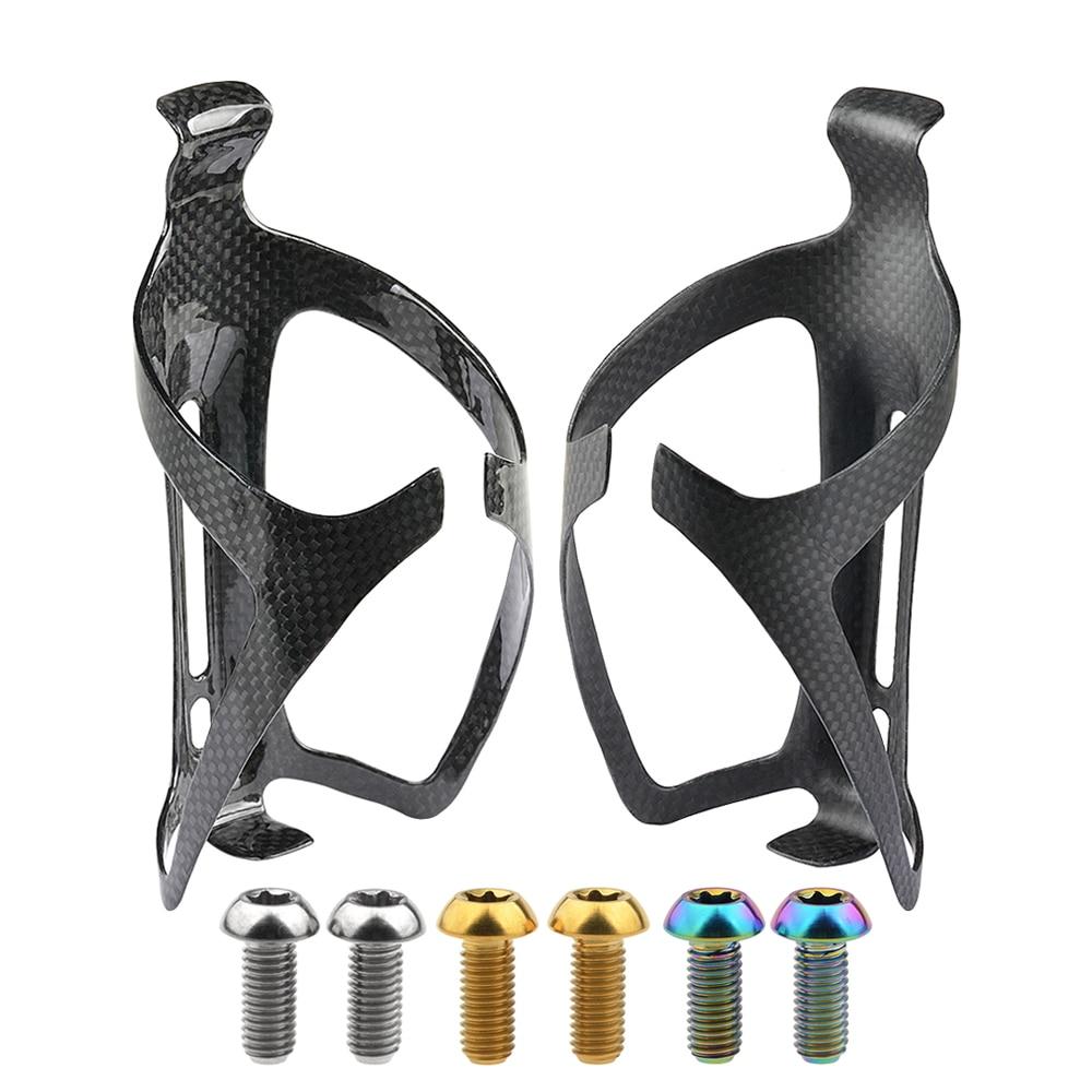 Wanyifa fibra de carbono bicicleta 3K caja de botella de agua MTB soporte de botella de bicicleta de carretera 2 piezas + perno de titanio M5x 12mm Torx cabeza 4 piezas