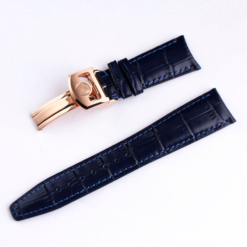 22-20mm Dark Blue Genuine Leather Watch Band Wristwatch Bands Strap Buckle for IWC Pilot