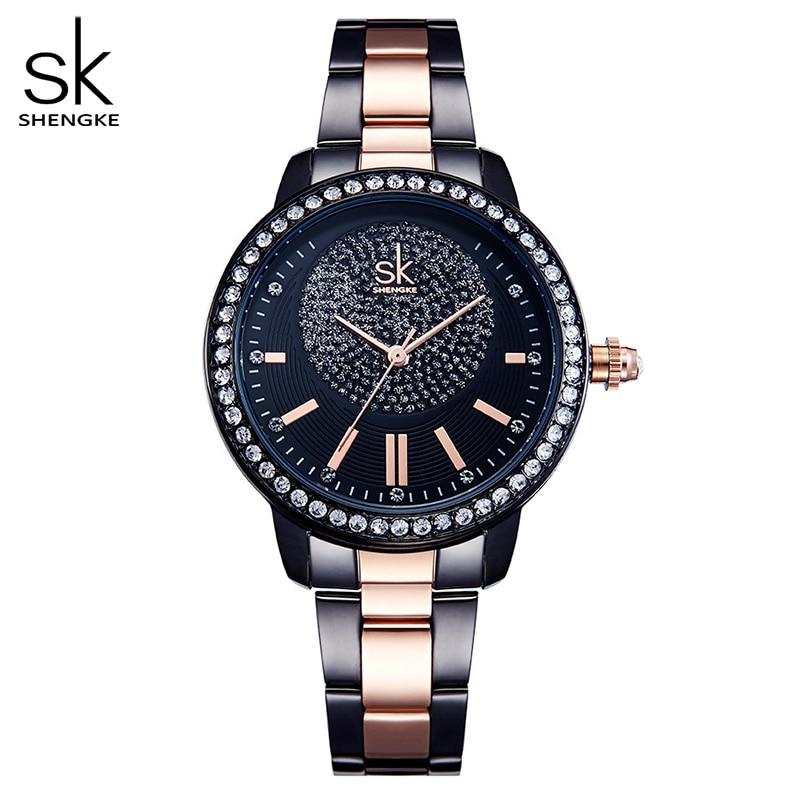 Shengke-ساعة كوارتز نسائية من الذهب الوردي ، ساعة يد نسائية فاخرة من الكريستال