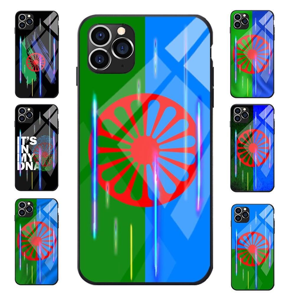Vidrio templado con efecto Solar para iPhone 6 7 8 S XR X Plus 11 Pro Max Gypsy Romany Roma, fundas para teléfono móvil con tema de bandera de TPU