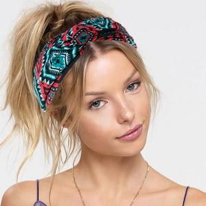 Twist Wide Hair Bands Cross Knotted Women Headband Print Lattice Bohemian Elastic Headband Headwrap Girls Hair Accessories