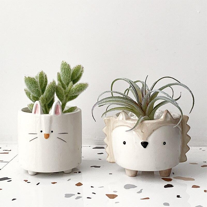 Desenhos animados suculenta cerâmica vaso de flores bonito pote ouriço coelho filhote de cachorro pequeno animal vaso de flores criativo quarto decoração de mesa