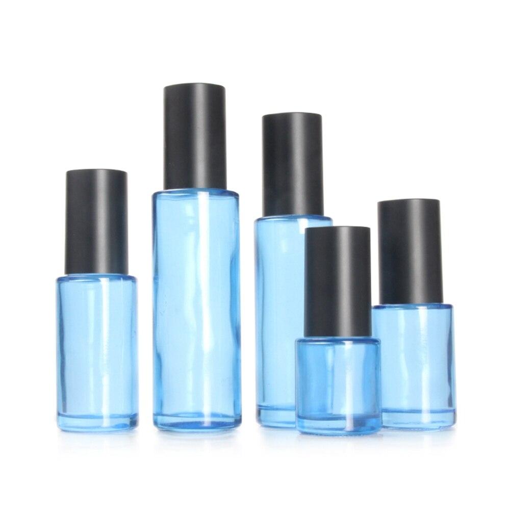 Botella de tóner de vidrio 60ml verde/azul/blanco/claro con tapa negro mate