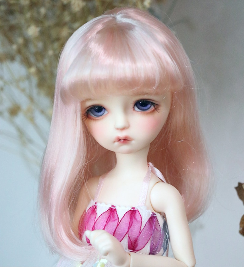 ¡Novedad de 2020! Peluca SD Bjd 1/4 1/6 1/8 bonita peluca BJD de alambre de pelo liso rosa para muñeca BJD