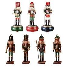 Wooden Nutcracker Soldier Doll Music Box Kids Toy Handicrafts Home Desktop 23GD