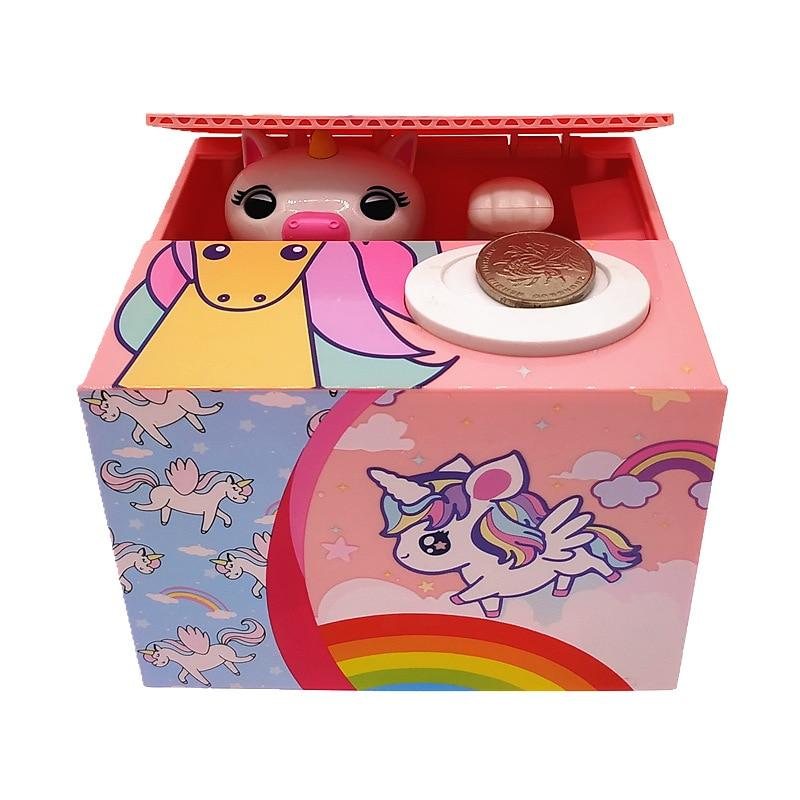 Cute Creative Eating Coin Unicorn Piggy Bank Money Box Kids Toys Electric Money Bank Home Decor Money Saving Gift for Kids