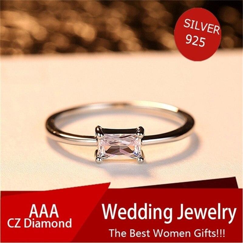 Anillos de joyería de oro blanco Blaike delicado para mujer, anillo de circón de corte princesa, anillo de compromiso de boda, joyería, regalo de cumpleaños