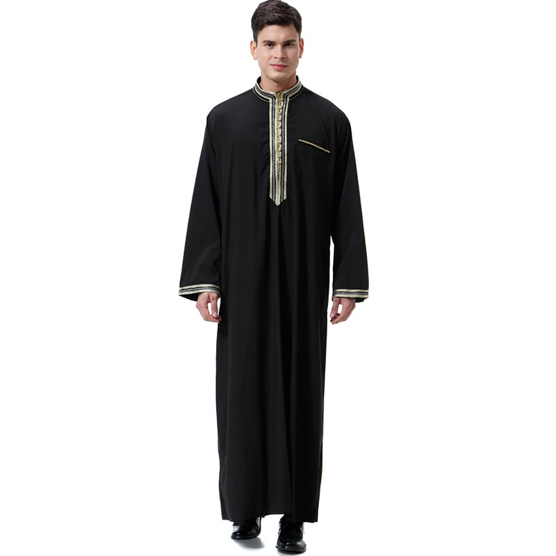 Fashion Muslim Saudi Arabia Ramadan Prayer Men's Robe India Pakistan with Pockets Long Sleeve Long Skirt Islamic Clothing Kaftan