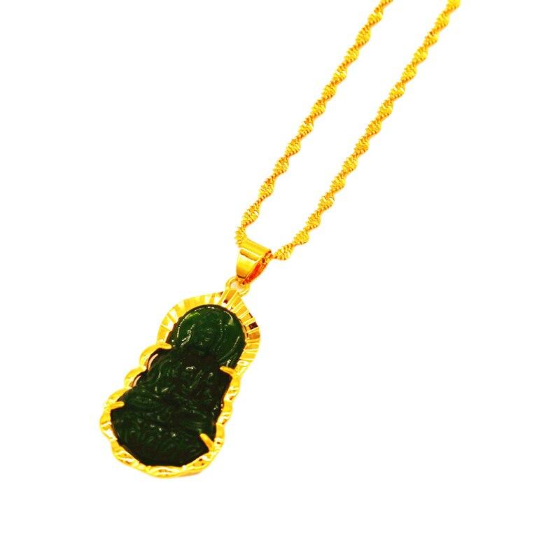 18K Gold Buddhist Guanyin Pendant Necklace Chinese Style Green/White Ornament Maitreya Buddha Amulet Hinduism Jewelry