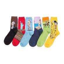 1 paire coloré hommes chaussettes coton peigné peintures à lhuile série david drôle chaussettes homme mode tendance haute qualité couple longue chaussette