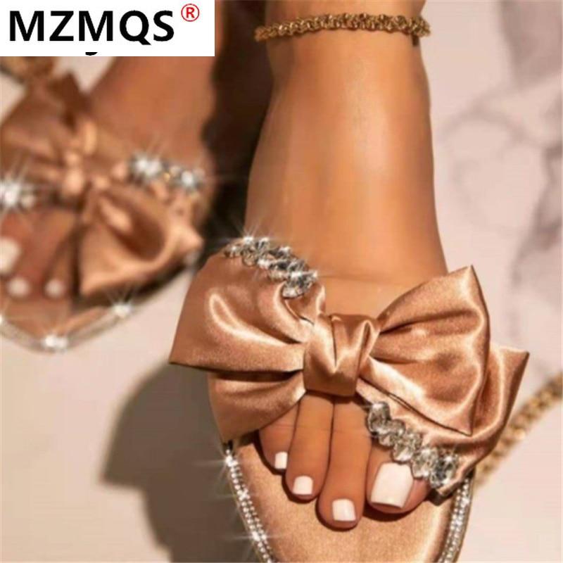 2021 Summer New Fashion Bow-knot Sandals Shoes Women Bow Summer Sandals Slipper Outdoor Beach Open T